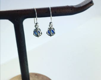Anchors Aweigh, tiny anchors, US naval academy, sterling silver earrings, Blue Chalcedony, sailing, nautical, anchor earrings