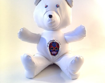 BAKALAR Bear - Handmade Plush - White leatherette - Inspired by Mexican Calaveras