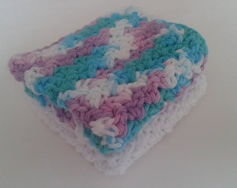 Reusable Crocheted Cotton Dishcloths, Washcloths, Set of 2- 1 White and 1 multi color blue, purple and white