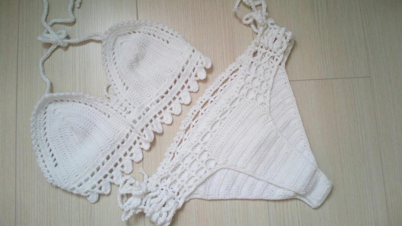 Bianco uncinetto Bikini top e slip brasiliano costumi da
