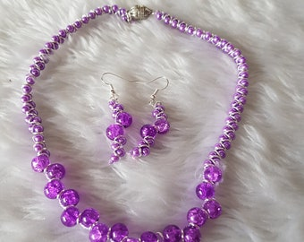 Handmade Necklace and Earring Set , beaded, Purple