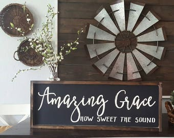 Amazing Grace How Sweet The Sound. Rustic framed sign. . Framed wood sign. Rustic Framed Sign. Farmhouse Style.