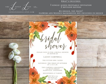 Printable Fall Bridal Shower Invitation - the Bonnie Collection
