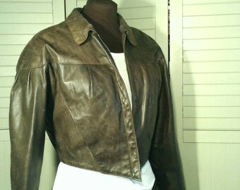 Vintage Cropped Leather Jacket Shaped Brown Fitted Zip Liner Soft Flexible Rocker Biker Motorcycle Hipster Womens Size 11 12 Medium Large