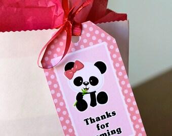 Panda Favor Tags, Thank You Tag, Loot Bag Tag, Panda Birthday Printable, Panda Party Decoration