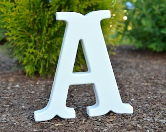 6'' White Free Standing Wooden Letter for Christmas Gifts, Nursery, Baby Shower, Weddings, Home Decor Kid's Room Black Friday