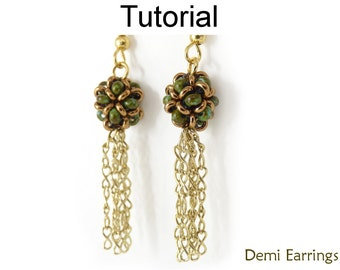 Earrings Beading Tutorial Pattern - Beaded Beads - Right Angle Weave RAW - Simple Bead Patterns - Demi Earrings #20044