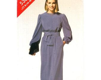 Vintage 80s Dress Pattern Butterick 5361 Front Tucks Loose Dress Long Sleeve Pockets Womens Size 14 16 18 Sewing Pattern