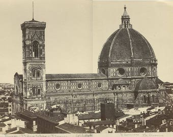 Florence Duomo Cathedral antique albumen photo Italy