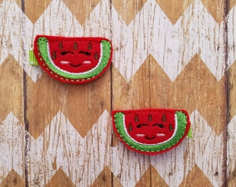 Watermelon hair clips, watermelon clippies, watermelon hair clips, toddler hair clips, girls hair clips, pigtail clips, pigtail bows, bows