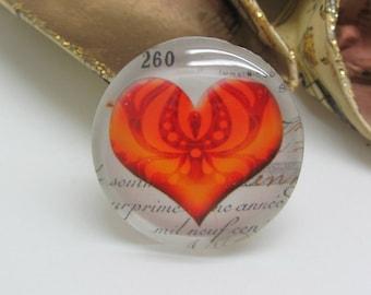2 cabochons 14 mm glass Vintage Orange heart - 14 mm