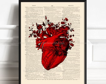 Anatomy Heart Poster, Husband Birthday Art, Medical Student Gift, Red Heart Poster, Engagement Gift Idea, Anatomy Illustration, Home  056