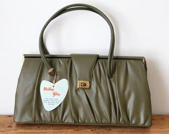 Vintage MELLOW GLOW Olive Green Leather Look Structured Handbag / Vintage Green Purse / Olive Satchel / New Old Stock 110417-22