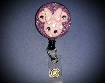 Minnie Mouse Badge Reel - Minnie Mouse Badge Holder - Disney Badge Holder - Retractable Badge Holder - Disney Badge Reel - Disney Lanyard