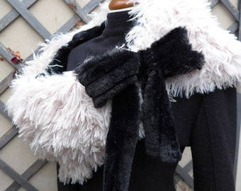 Fluffy Plush Blush Pink and Black Faux Fur Stole Shawl.