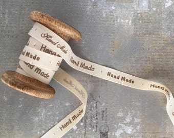 Ribbon with 'Hand Made' Print, Ivory, 15mm x 1m