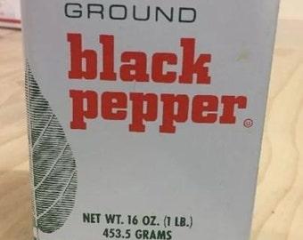 Vintage Original LECROY Tin Black Pepper Shaker Advertising Used