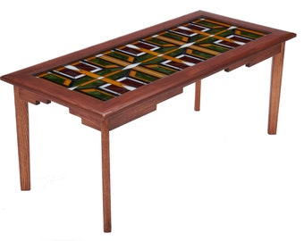 Craftsman Glass Top Brown Coffee Table