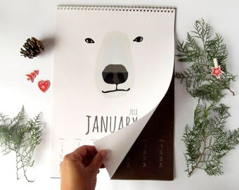 2018 wall calendar|Bear calendars 2018,Monthly calendars,Christmas gift,Nursery decor,Wall hanging,Gift for him,Nature lover gift,Kids gift