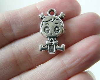 6 Baby girl charms antique silver tone P566