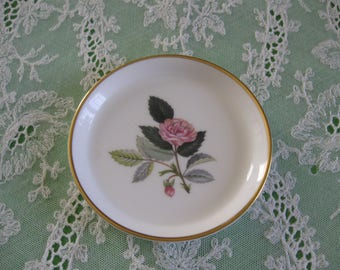 Wedgwood Bone China Miniature Plate, Hathaway Rose, Trimmed In Gold