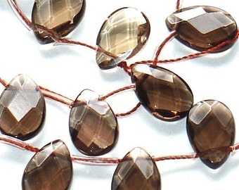 28 pcs of Genuine Smoky quartz (heated) faceted flat teardrop 10X14mm