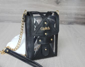 Clear concert bag - Clear stadium bag - Black Leather Bag - Clear purse - Gift for Her