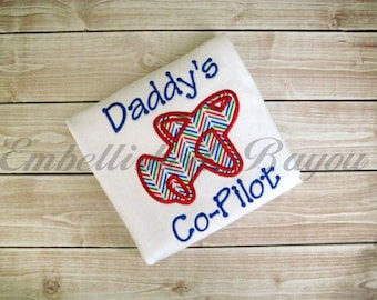 Daddy's Co-Pilot Onesie or Tshirt with Chevron Airplane Applique