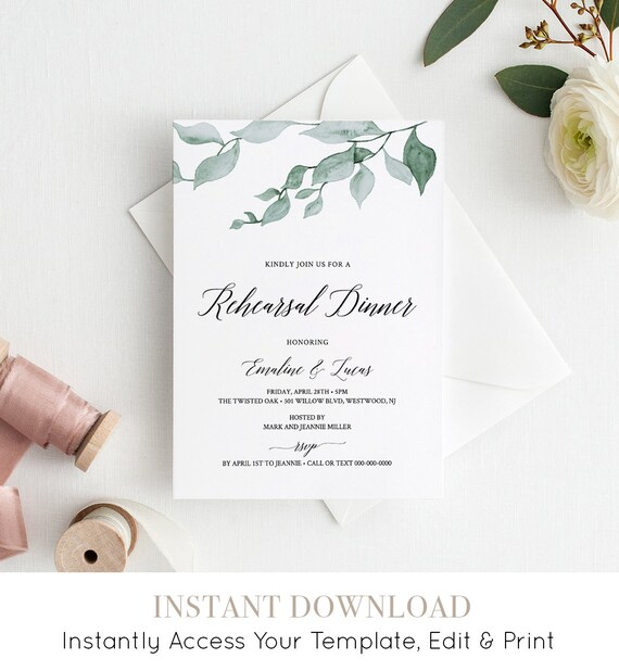 Greenery Rehearsal Dinner Invitation Template, Instant Download, Watercolor Wedding Rehearsal Invite, Printable, 100% Editable #019-115RD