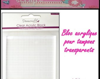 Acrylic block 9 X 9 cm for rubber stamps scrapbooking card making (ref.110) embellishment