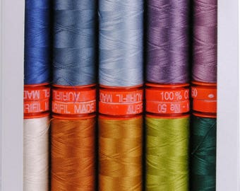 Aurifil Thread - Sheena Norquay Scottish Highlands - 10 pack, 50wt assorted colors, 220 yards each (small spool)
