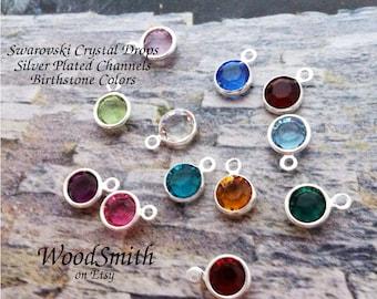 Swarovski Crystal Birth Stone Drop, Silver Plated Channel, Add-on only to my leaf jewelry
