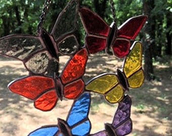 Contemporary Stained Glass Butterfly Suncatcher (PLG134)