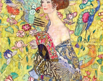 High quality handpainted Gustav Klimt oil painting reproduction lady with Fan by klimt for home decor wall art or gift