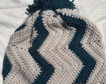 Teal and White Chevron hat with yarn pom