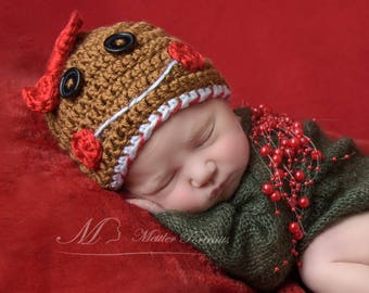 Baby Gingerbread Hat Beanie | Gingerbread Girl | Crochet Gingerbread Hat | Christmas Hat | Winter Hat | Christmas Prop | Stocking Stuffer