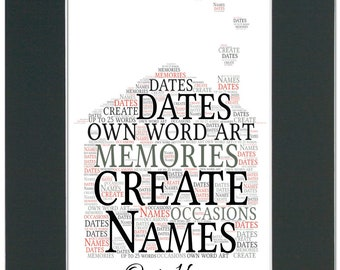 Personalised Home Mounted Word Art - Unframed