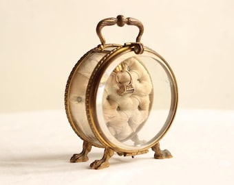 Exquisite French Antique Ormolu/Gillt Bronze And Bevelled Crystal Pocket Watch Case/Porte Montre/Jewellery Box  Signed EH Circa Late 1800's