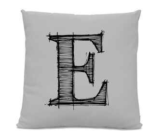 Initial Pillow - Letter Pillow - Pillow with Letter E - Monogrammed Pillow - Custom Throw Pillow