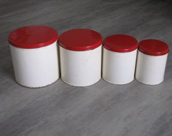 Vintage Metal Canisters - Set of Four - Beige and Red
