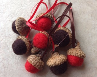 8 wool felted acorn ornaments in red and chocolate