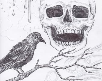 print of crow and skeleton