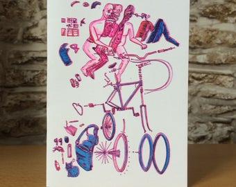 Exploded Man Bike Risograph printed Greetings Card