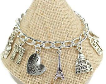 Charm Bracelet, Paris Bracelet, France Bracelet, Travel Bracelet, Eiffel Tower Charm, Love Paris, Travel, Paris Gift, Student, Europe, B31