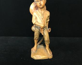Folk Art Wooden Boy Figurine