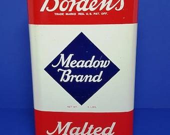 Vintage Borden's  Meadow Brand Malted Milk Tin 1950's