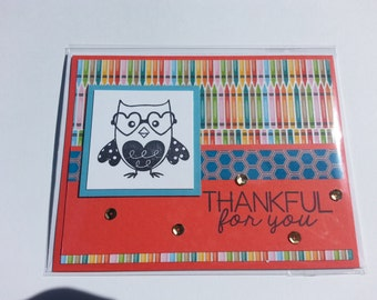 Handmade Thankful Teachers Card, For Her, For Him, Owl