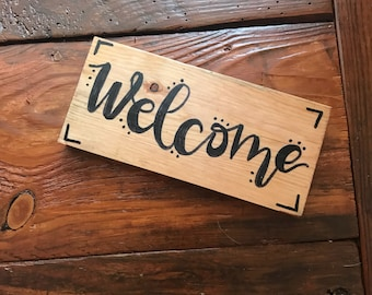 """Reclaimed North Carolina Pine Handlettered """"Welcome"""" Sign"""