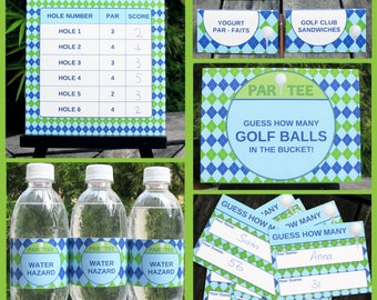 Golf Party Invitations & Decorations - full Printable Package - INSTANT DOWNLOAD with EDITABLE text - you personalize at home