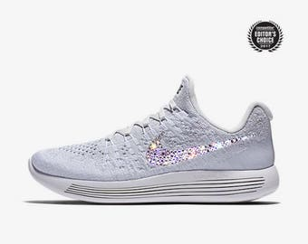 crystal Nike Lunarepic Low Flyknit 2 Bling Shoes with Swarovski Crystals  Women s Running Shoes white 7a248d783